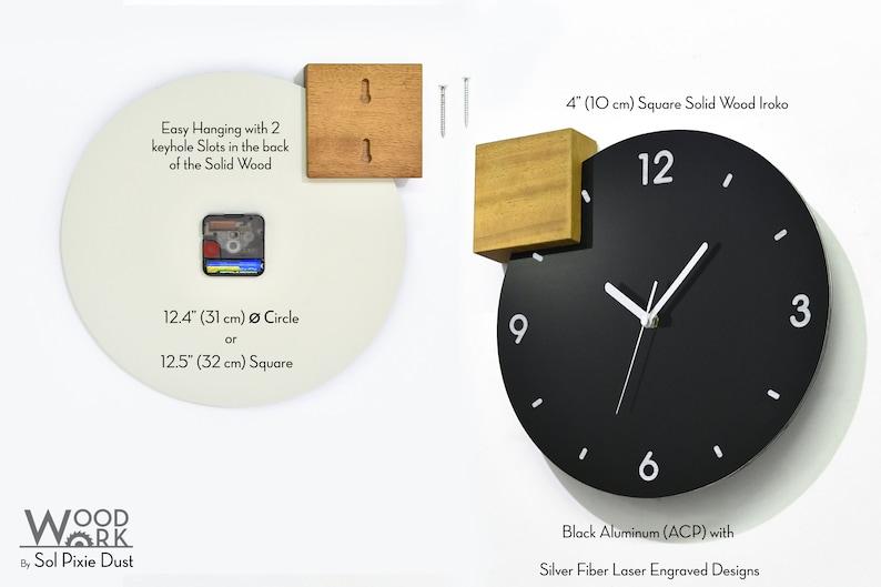 Horloge moderne de mur en aluminium noir - gravure laser en fibre personnalisée - J'aime New York - Horloge souvenir - Custom City Engrave - Pays - Villes