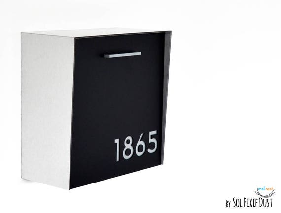 bo te aux lettres moderne avec face noire et corps en etsy. Black Bedroom Furniture Sets. Home Design Ideas