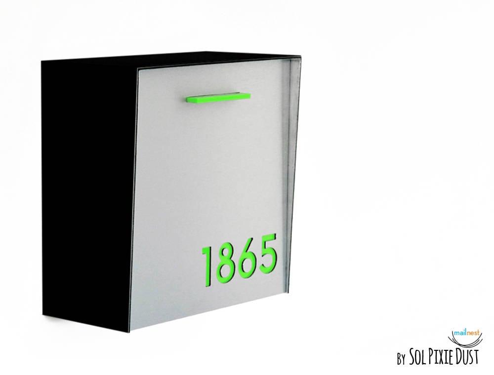 bo te aux lettres moderne avec de laluminium bross argent etsy. Black Bedroom Furniture Sets. Home Design Ideas