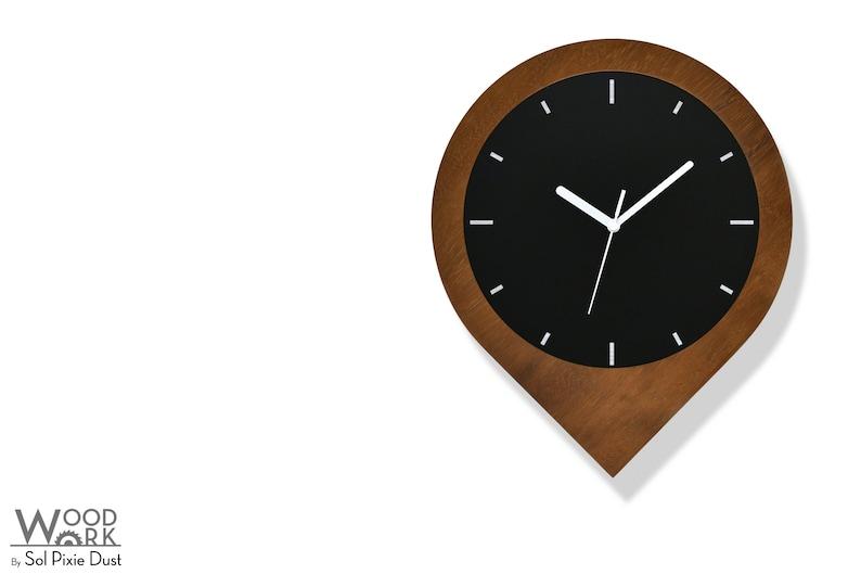 Minimalist wall Art Black Aluminum Fiber Laser Engraving Unique Rustic Office Decor Student Gift Solid Iroko Wood Pin Wall Clock