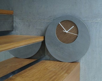 Concrete Circle Wall Clock With Wooden Hole - Modern Wall Clock