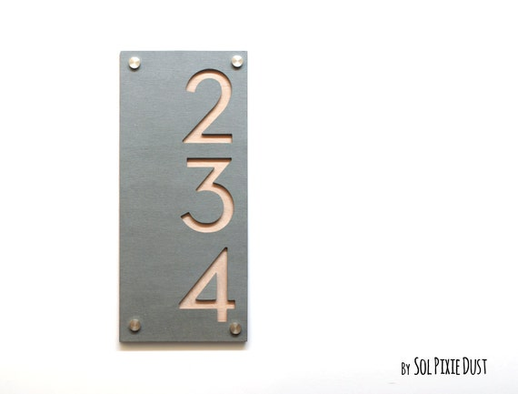 Moderne Hausnummern Beton Mit Naturholz Vertical Etsy