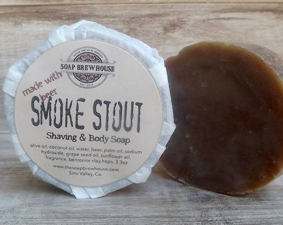 Smoke Stout/ Beer Soap/ Smokey Mahogany Scent/ Shaving Puck/Men's Grooming