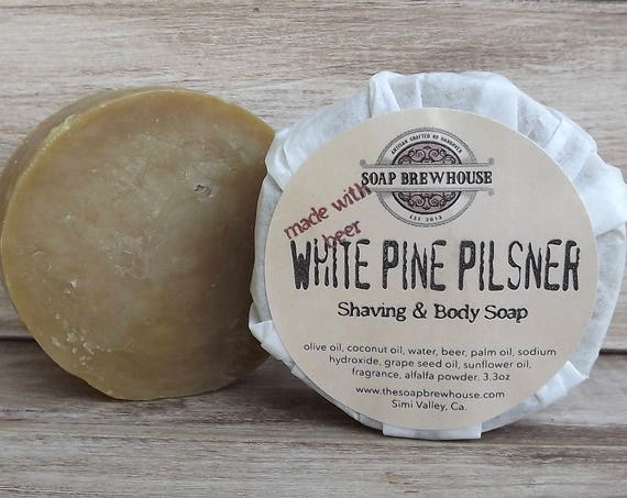White Pine Pilsner Beer Soap/ Body & Shaving Beer Soap/Shaving Puck Beer Soap/Men's Grooming Soap