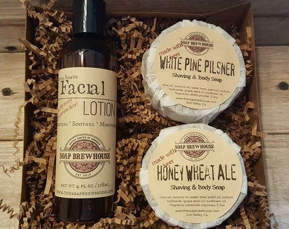 Shaving Soap Set with Aftershave Lotion/Mens Shaving Gift Set/ Beer Lover Soap Set/ Alpha Hydroxy Lotion Set