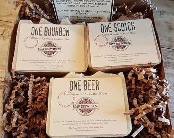 Bourbon Lover Soap Gift Set/Scotch Gift/Bourbon Gift/Birthday Gift/Beer Lover/Groomsmen Gift/Mens Gift Set/Cocktail Lover Mens Gift