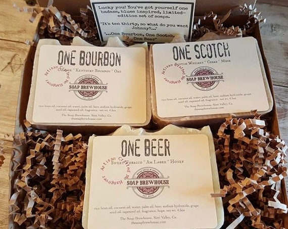 Bourbon Scotch Beer Soap Gift Set/Scotch Gift/Bourbon Gift/Birthday Gift/Beer Lover/Groomsmen Gift/Mens Gift Set/Cocktail Lover Mens Gift