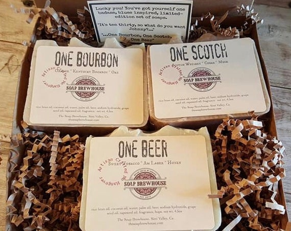 Scotch Lover Soap Gift Set/Scotch Gift Set/Bourbon Gift Set/Birthday Gift/Beer Lover/Groomsmen Gift/Mens Gift Set/Cocktail Lover Mens Gift