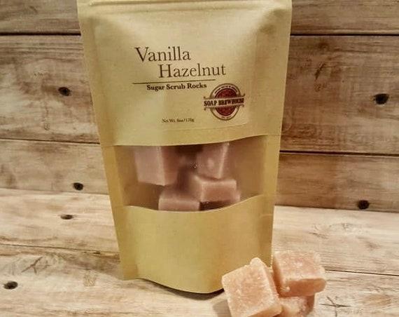 Vanilla Hazelnut Sugar Scrub Rocks/Shea Butter Sugar Scrub/Spa Gift Sugar Scrub/Moisturizing Body Scrub
