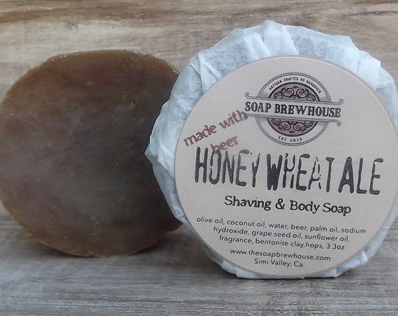 Honey Wheat Ale Beer Soap/Beer Lover Soap Gift/Shaving & Body Beer Soap/Men's Grooming/Shaving Puck
