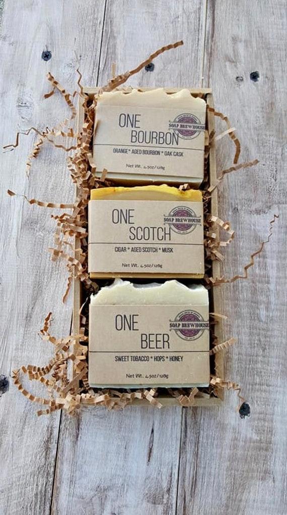 Bourbon Scotch Beer Soap Gift Set/Scotch Gift/Bourbon Gift/Birthday Gift/Beer Lover/Groomsmen Gift/Mens Gift Set/Cocktail Lover Mens Gift
