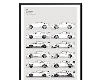 Porsche 911 GT3 Generations Poster