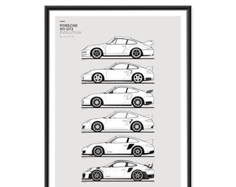 Porsche 911 GT2 Generations Poster