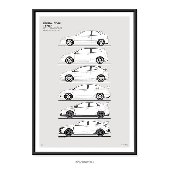 honda civic type  generations poster etsy
