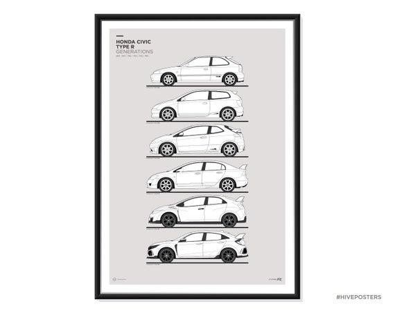 Honda Civic Generations >> Honda Civic Type R Generations Poster