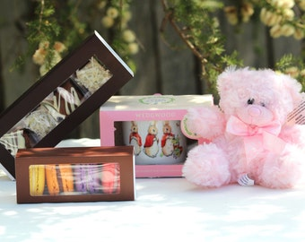 Baby girl hamper with homemade brownie chocolates and macarons