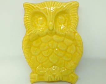 Ceramic Owl Dish - Yellow Glaze - Owl Spoon Rest - Handmade - Ready to Ship