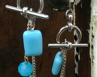 The baby blues: toggle dangle earrings