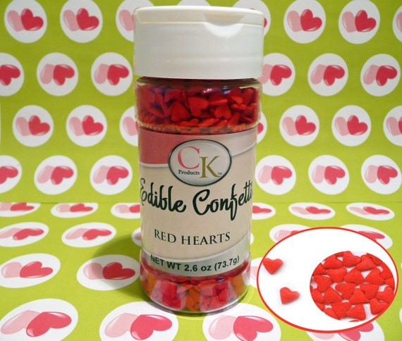 Red Hearts 2 6 oz  Edible Confetti Sprinkles Cake Pops Cupcake Cookies Ice  Cream Valentines Wedding Quins