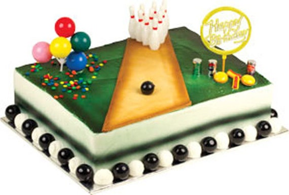 Outstanding Bowling Birthday Cake Decorating Kit Decoration Topper Etsy Personalised Birthday Cards Veneteletsinfo