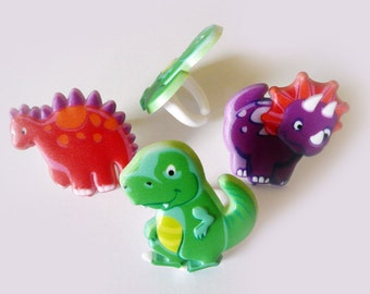 24 Dino Pals Dinosaur Cupcake Rings Decorations Cake Toppers Party Favors