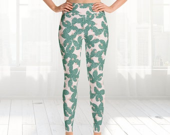Cacti yoga Leggings, Womens, High Waisted Design Leggings, jogging pants, Cacti, Handmade Yoga Dance Tights
