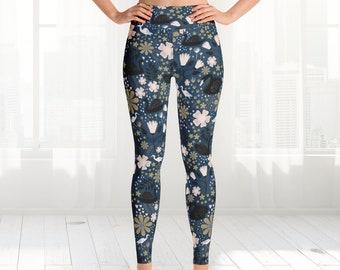 Swan yoga Leggings, Womens High Waisted Pant Design Shorts jogging Floral Handmade Ankle Yoga Dance Tights