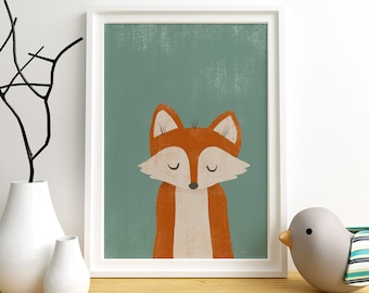 Sleeping Fox art print,  Giclee Art Print, woodland, archival art print, Fox, nursery art print, home decor art print