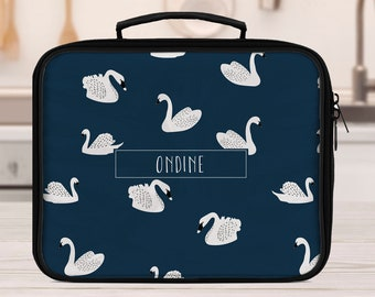 Personalized Lunch box for school or office, swan lunchbox, girls lunchbox, lunch bag for girls, insulated bag, toddler lunchbox
