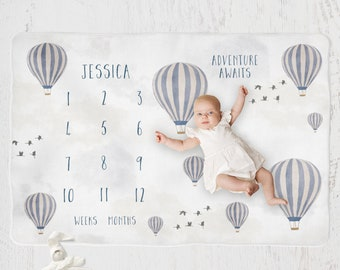 Hot air balloons Personalized Milestone Blanket, Monthly Growth Tracker, Soft Fleece Blanket, Baby Shower Gift, Newborn Gift Blanket