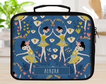 Personalized Lunch box for school or office, ballerina lunchbox, girls lunchbox, lunch bag for girls, insulated bag,  toddler lunchbox