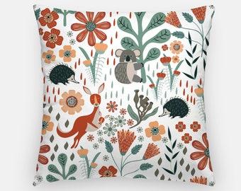Australian Cushion Cover, cushion cover, 16x16 Inch, designer cushion, echidna cushion, Kangaroo Cushion, throw cushion, outdoor cushion
