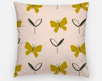 Butterfly Cushion Cover, cushion cover, 16x16 Inch, designer cushion, 2-sided cushion, olive, mustard & pink cushion, patterned cushion