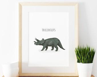 Triceratops art print,  Giclee Art Print, archival art print, dinosaur art print, nursery art print, home decor art print