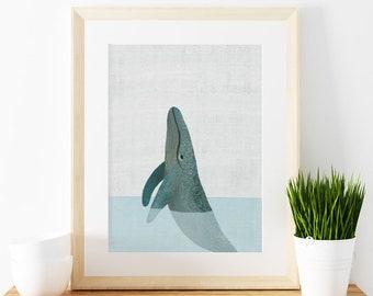 Humpback Whale art print,  Giclee Art Print, ocean animals, archival art print, whale, nursery art print, home decor art print