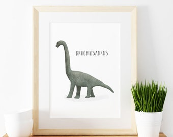 Brachiosaurus art print,  Giclee Art Print, archival art print, dinosaur art print, nursery art print, home decor art print