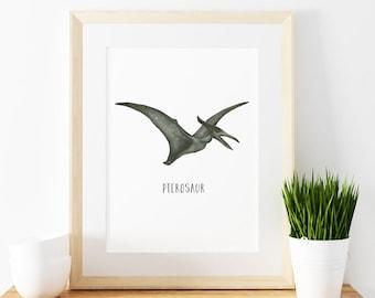 Pterosaur art print,  Giclee Art Print, archival art print, dinosaur art print, nursery art print, home decor art print