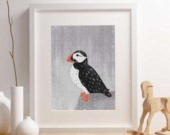 Puffin bird art print,  Giclee Art Print, woodland, archival art print, Puffin Bird, nursery art print, home decor art print