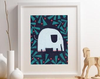 Baby Elephant art print,  Giclee Art Print, woodland, archival art print, Baby Elephant, nursery art print, home decor art print