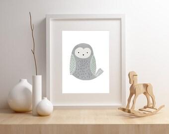 Owl nursery art print,  Giclee Art Print, woodland, archival art print