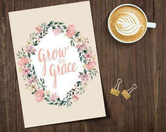 Print, 8x10 in, Grow in Grace Custom Hand Lettered Print; Custom Wall Decor; Hand Lettered Print, 8x10 Print; Gallery Wall Art
