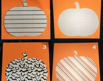 Patterned Pumpkins on Orange