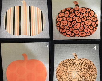 Patterned Pumpkins on Silver Canvas