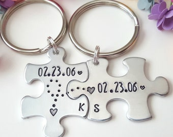 10 Year Anniversary Gift, Anniversary Puzzle Piece Keychains, Keychain for Him, His Hers keychains, Personalized Couples Keychains