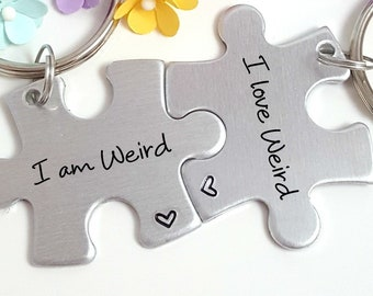 I Am Weird Love Couple Keychains Puzzle Piece Gift For Couples Friendship Gifts Bestie Christmas Under 25