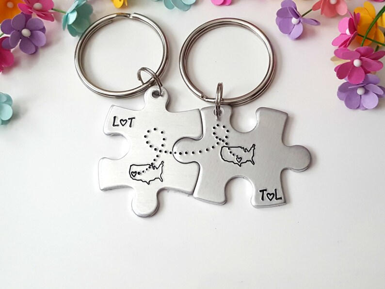 Personalized State Keychains LDR Gift Long Distance Relationship Puzzle Piece Keychains Christmas Gifts for Boyfriend Boyfriend Gift