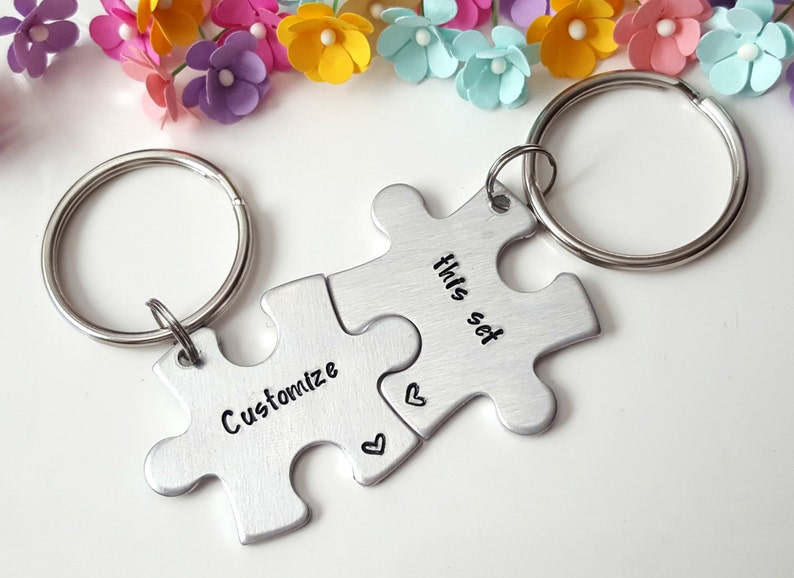 Puzzle Piece Keychains, Customized Keychains, Couple Keychains, Long  Distance Relationship Gifts, Personalized Keychains, Anniversary Gift