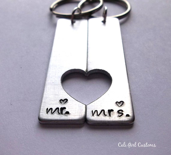 Mr And Mrs Gifts Couples Keychain Set His Hers Keychains Etsy