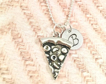 Pizza initial necklace, pizza jewelry, food necklace, pizza lover necklace, silver pizza charm, junk food jewelry, pizza slice necklace