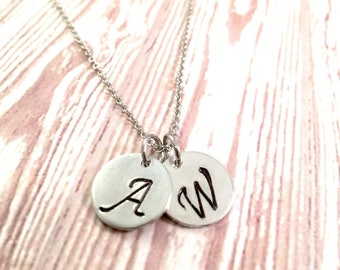 Disc Initial Necklace, Dainty Disc Necklace, Initial Necklace, Monogram Disc Charm, Bridesmaid Gift, Birthday Gift